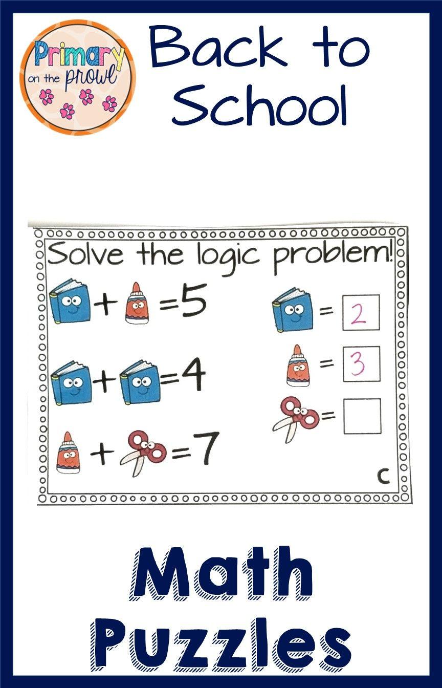 Back To School Math Logic Problems Printable Digital Logic Problems Math Facts Addition Math [ 1344 x 864 Pixel ]