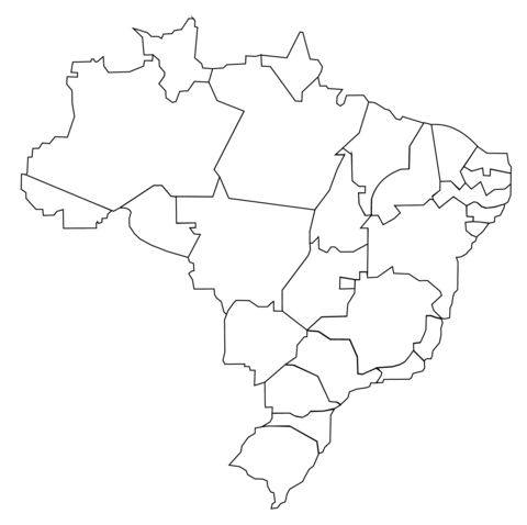 Outline Map Of Brazil With States Coloring Page Brazil Map Map Map Outline