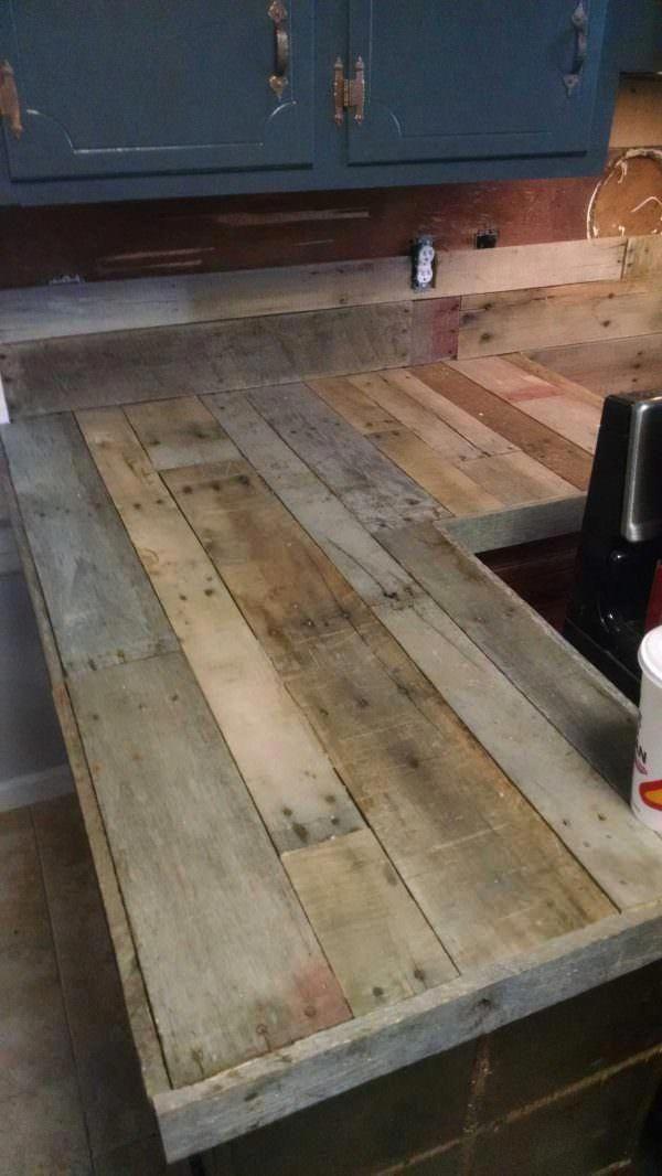 Pallet Countertops & Backsplash Desks & Tables   Kitchen ...