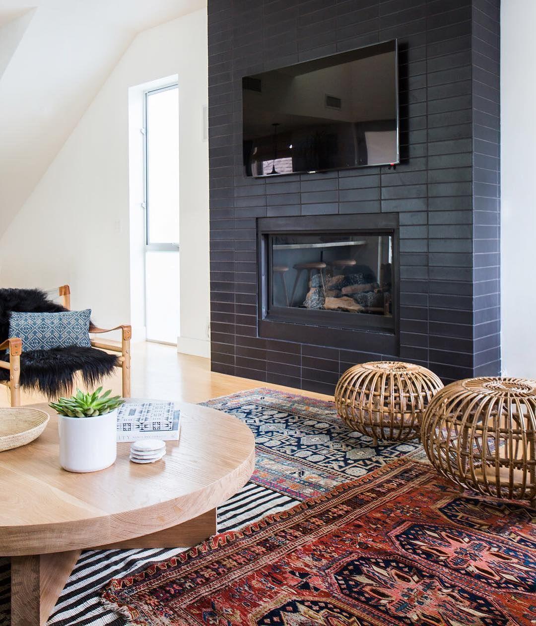 Heath Tile On Fireplace Design By Amber Interiors Photo By Tessa Neustadt Dwell Dark Living Rooms Black Fireplace I Amber Interiors