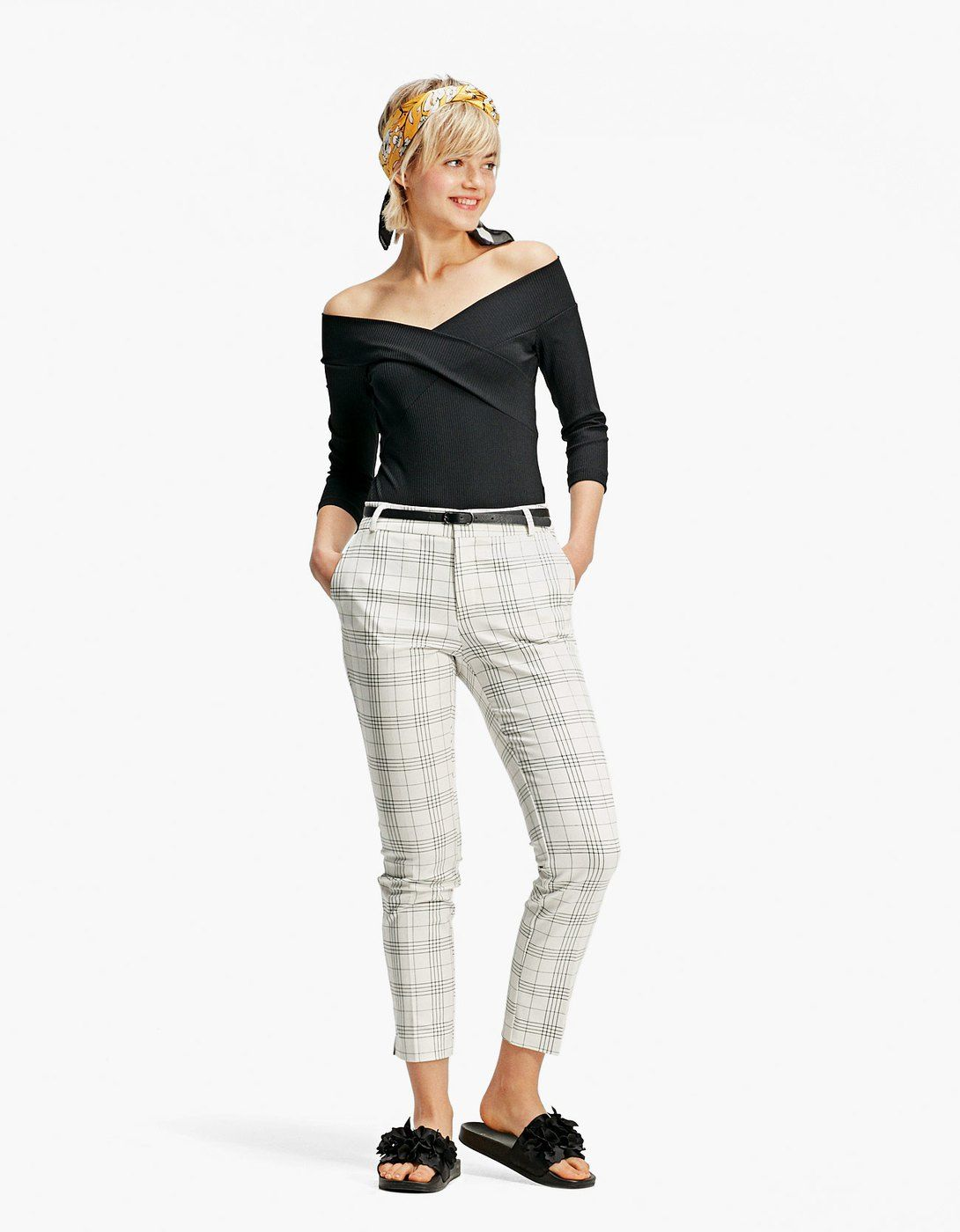 Pantalón de vestir checks con cinturón - Pantalones  ea413889b139