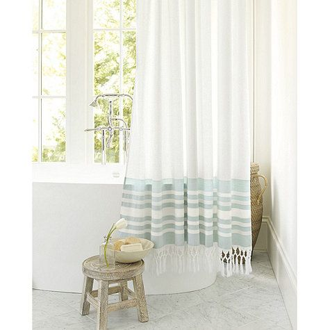 A Fresh More Absorbent Spin On The Traditional Turkish Towel Our Shower Curtain Is Woven Of Lightweight Yarn Dyed Dobby Cotton And Finished With