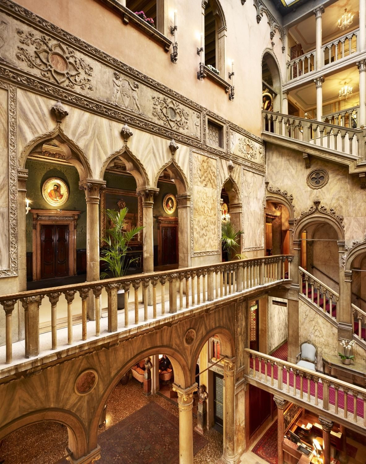 Lobby and Staircase of Hotel Danieli in Venice Italy ...