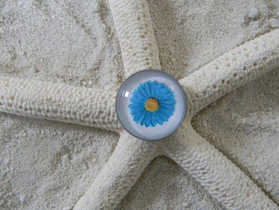 Glass Cabochon Pendant Interchangeable Charm Blue by Siltacheables, $5.00