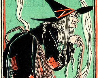 rare ugly creepy witch over fence vintage halloween - Vintage Halloween Witches