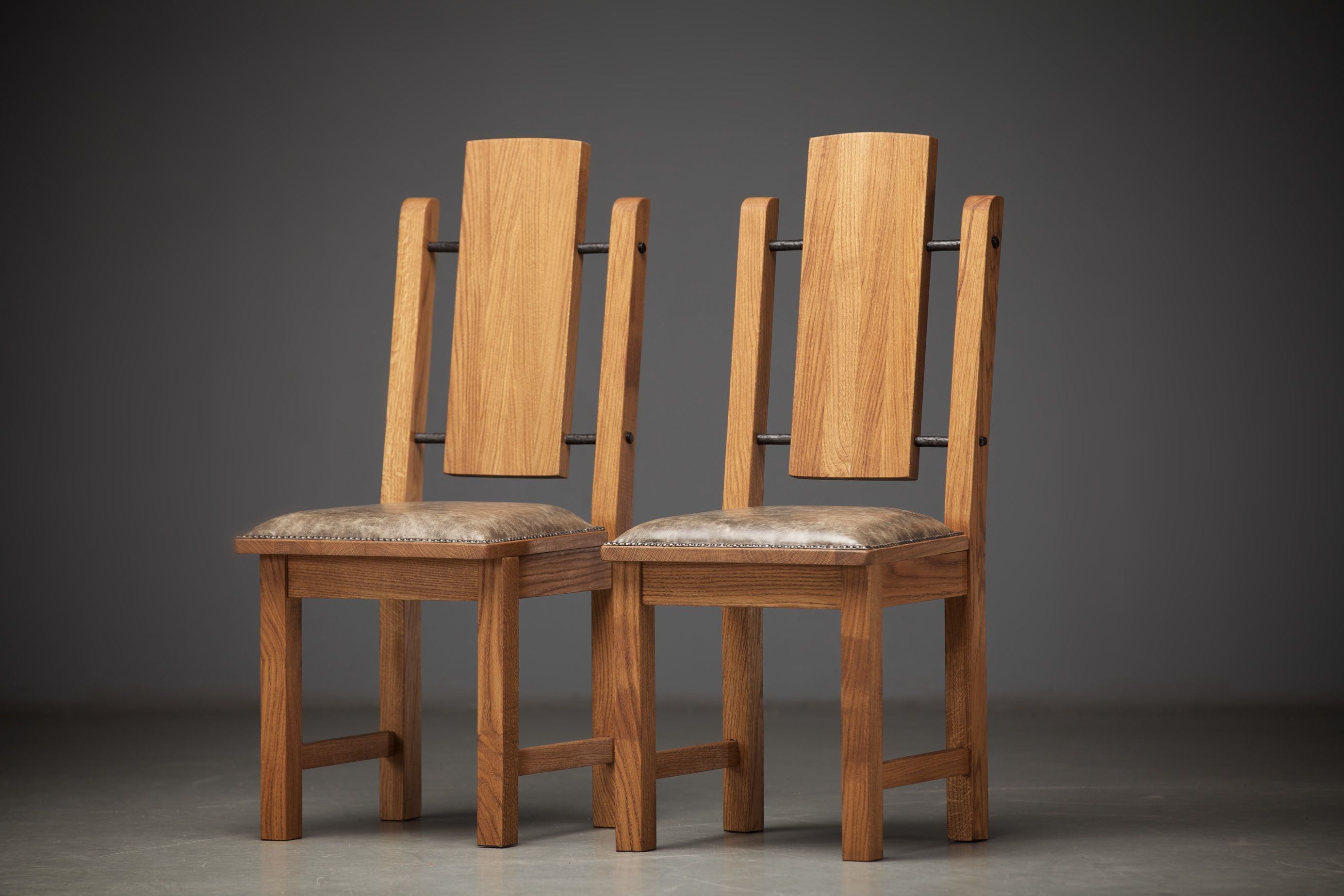 Reclaimed oak dining chairs with genuine leather ...