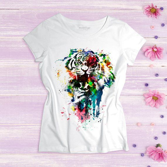 Tiger Women S T Shirt Jungle Tshirt Watercolor Animal Shirt Wild