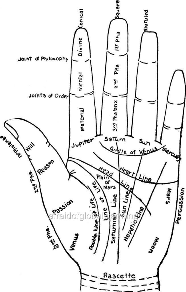 Print 1900 Palm Reading Chart Of The Hand Wiccan And Symbology