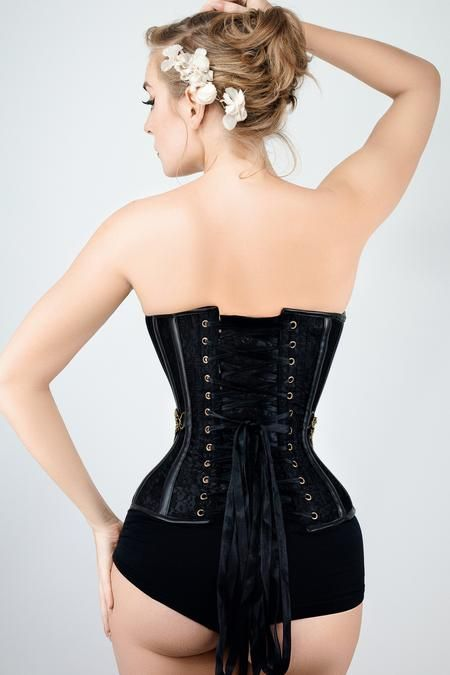 b87548373ea Waist Taming Classic Black Overbust Corset With Hip Gores - 20 in ...