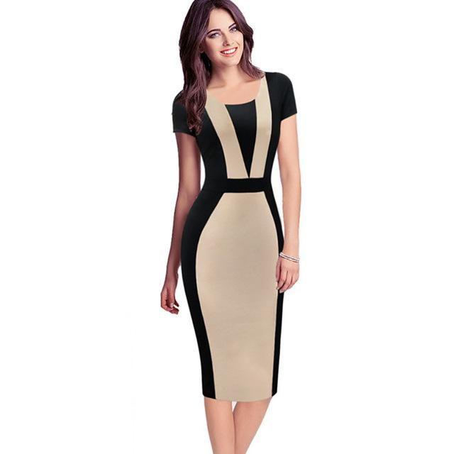 Work Business Casual Party Sheath Pencil Dress Womens Elegant