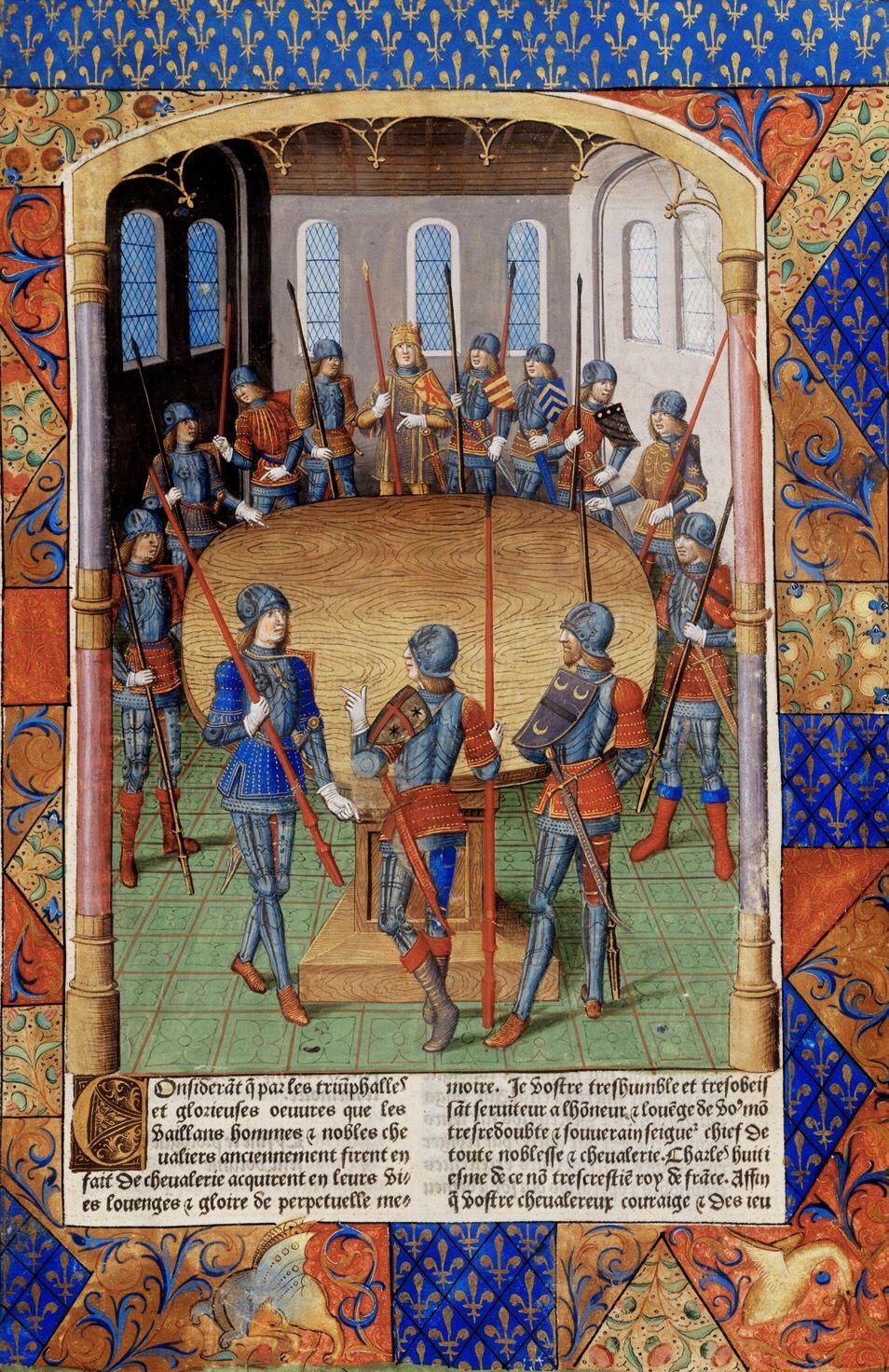 Le Roi Arthur Et Les Chevaliers De La Table Ronde Enluminure Du Maitre Jacques De Besancon Dans Lanc Medieval Paintings Historical Artwork King Arthur Legend