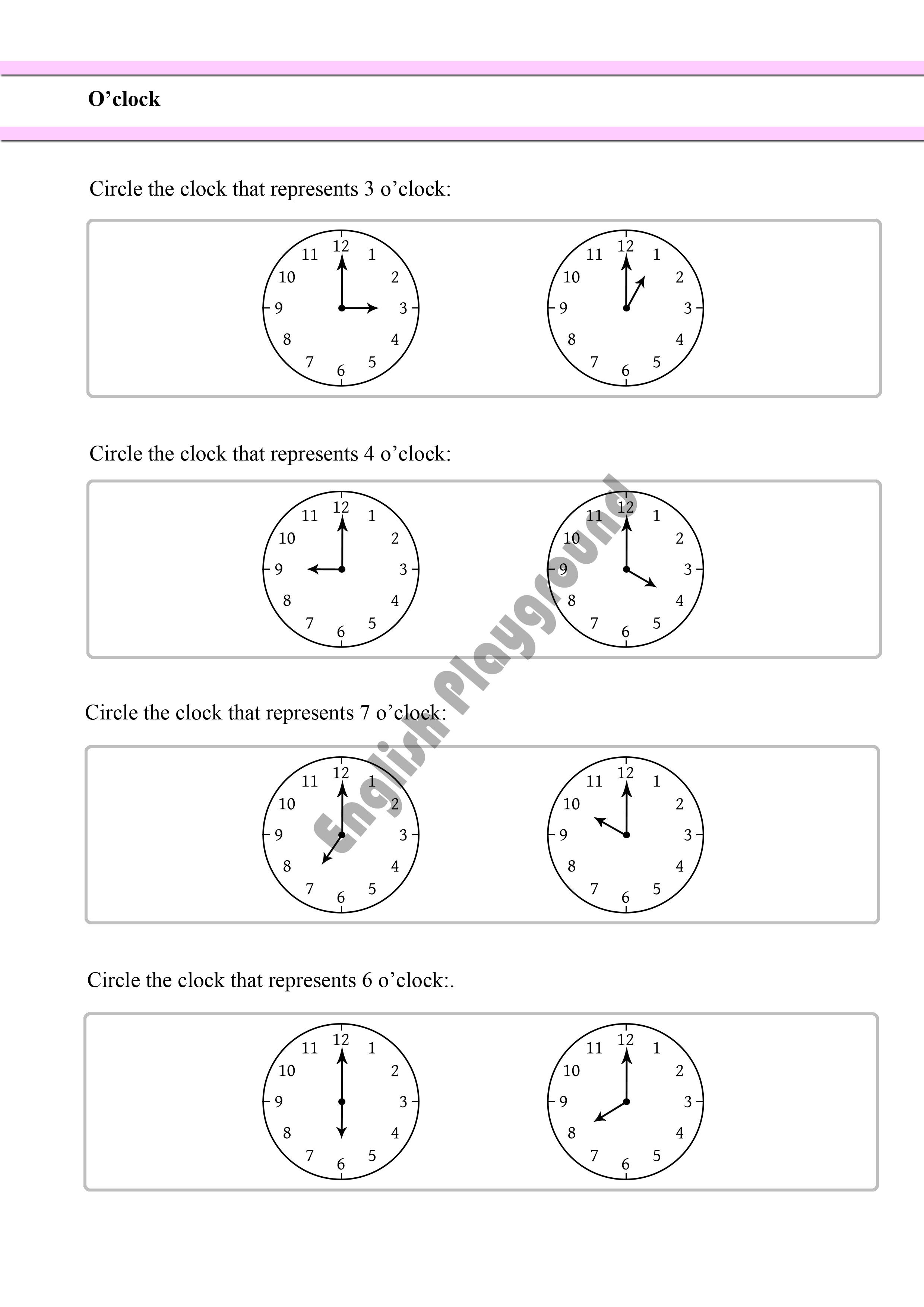 Learning the Time - O\'clock - for Reception and Year 1 Students ...