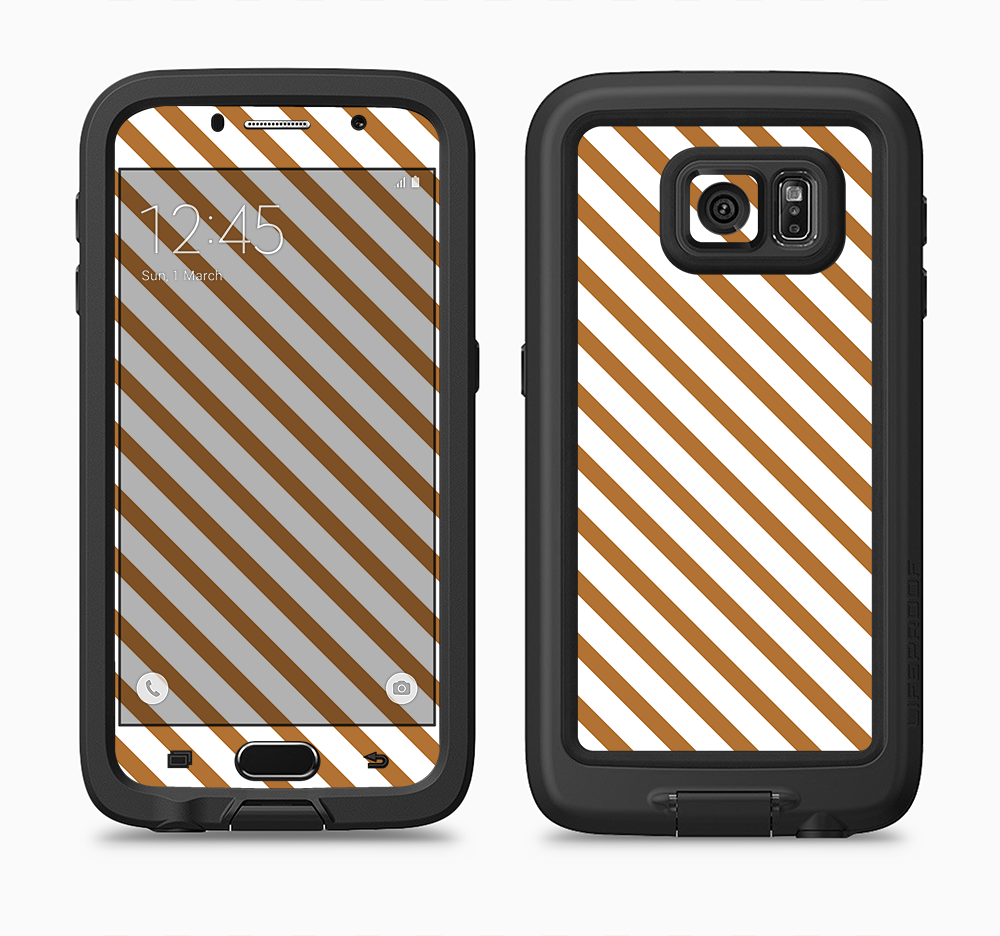 The Brown & White Striped Pattern Full Body Samsung Galaxy S6 LifeProof Fre Case Skin Kit