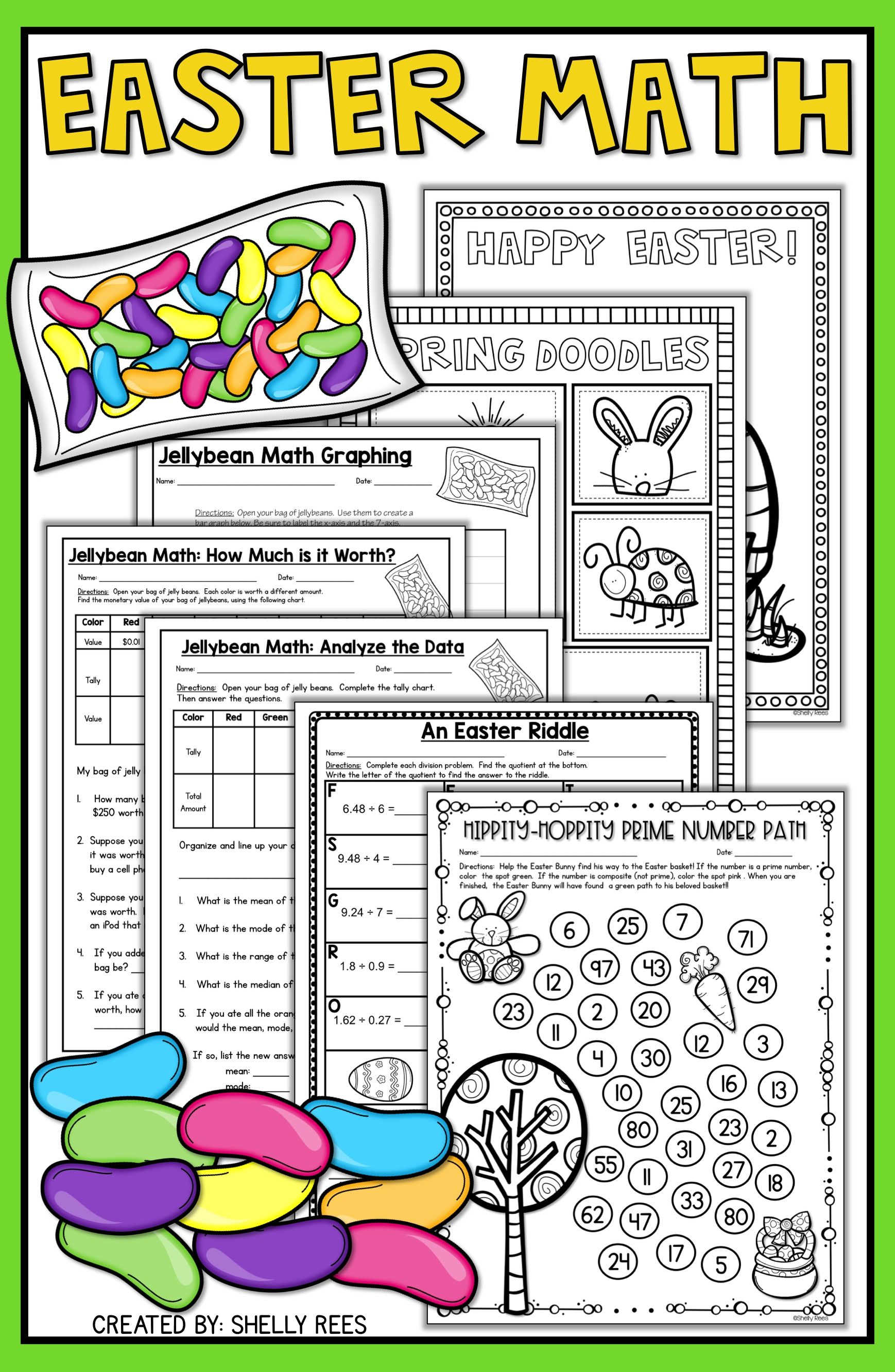 Easter Math Worksheets - Jellybean Math - Easter Activities   Easter math [ 2666 x 1738 Pixel ]