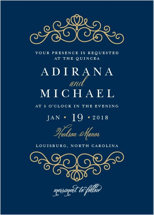 Foil wedding invitations in navy blue