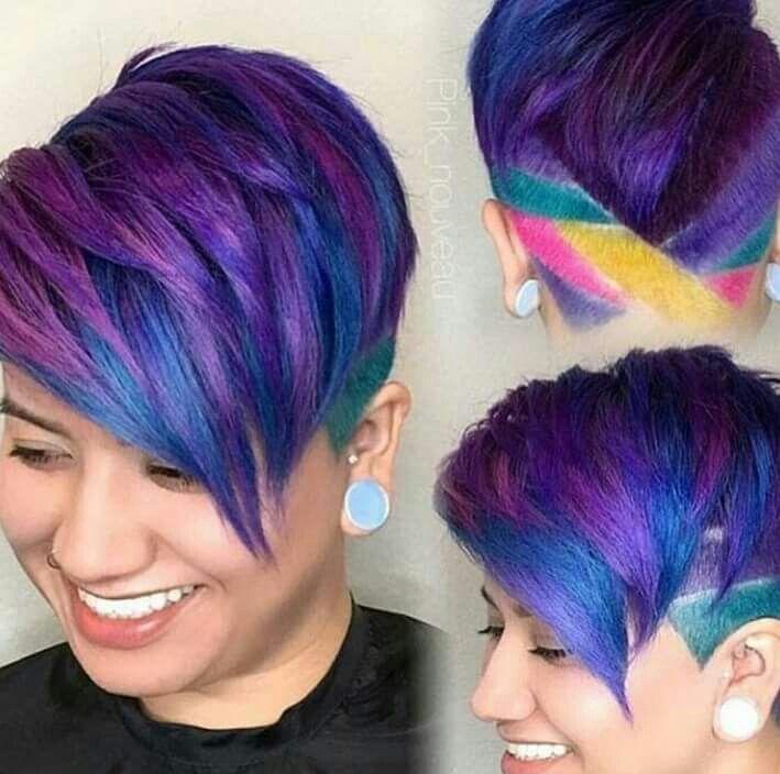 Multi Colored Short Due Hair Styles Short Hair Styles Short Hair Undercut