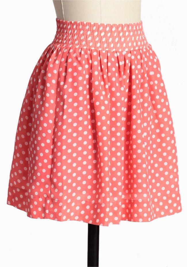 Grapefruit Granita Polka Dot Skirt | Modern Vintage Bottoms $40