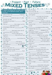 English worksheet: Mixed Tenses (present, past, future)   Ingilizce