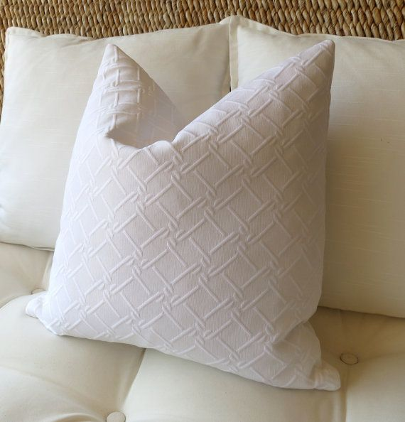 This 12 X 24 Inch Pillow Cover Is Made With A White Cotton Matelasse Fabric The Classic White Is Pe White Pillow Covers Pillows 18 Inch Pillow Cover
