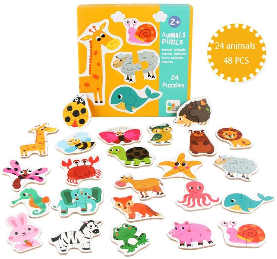 Childrens Preschool Educational Toys Suitable for Birthday Toy Gifts for 2 3 4 5 Year Old Boys and Girls Childrens Puzzle Toys Wooden Magnetic Cartoon Animal Dress Up Clothes Puzzle Toys