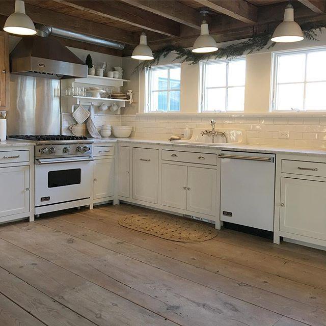Subway Tile, White Appliances In This Farmhouse Kitchen