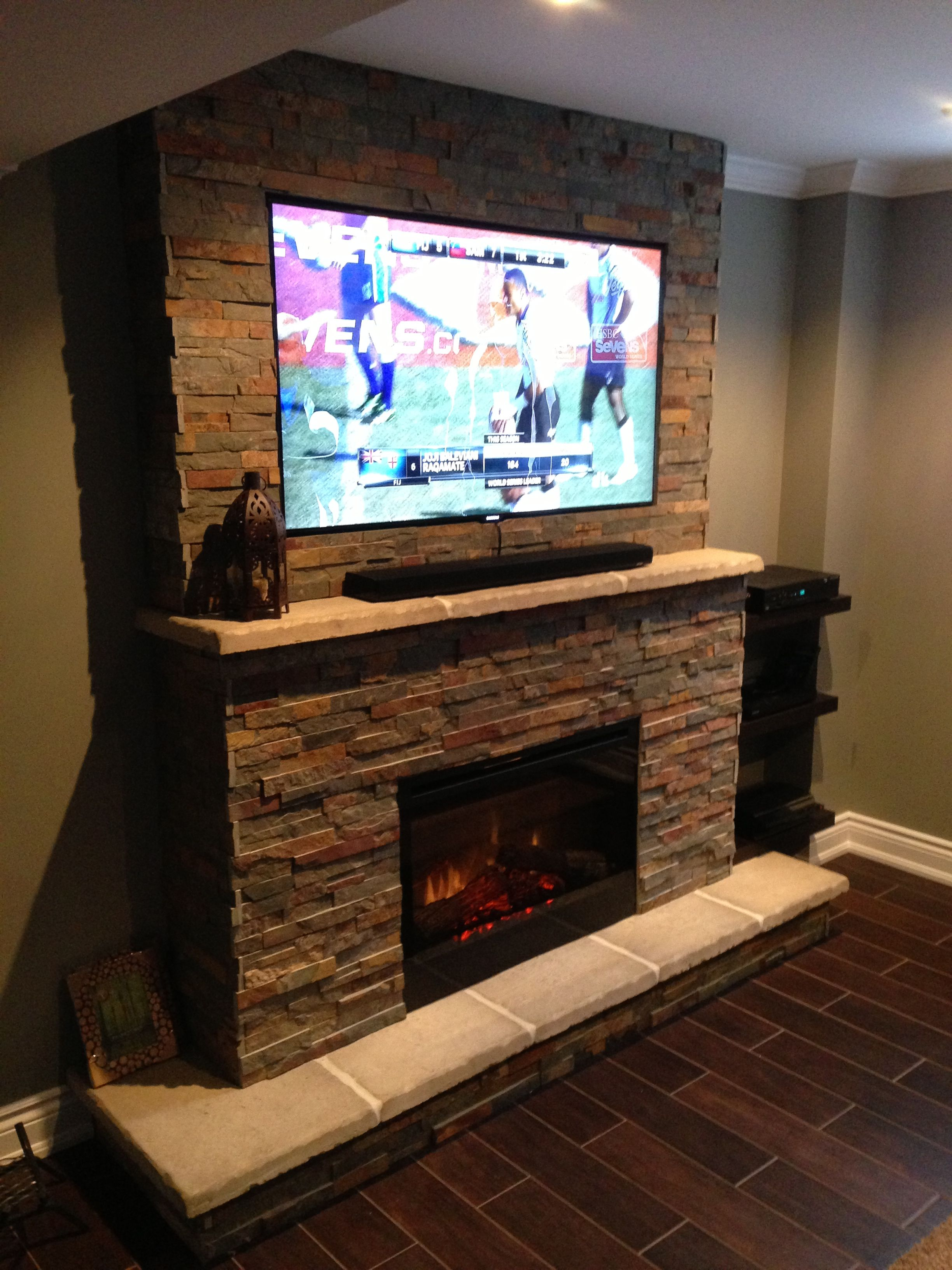 Fireplace Basement Television Samsung Mantle Hearth Dimplex Bose