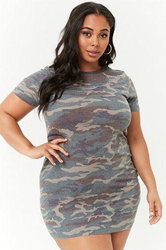 5bdcb14b6c923 Plus Size Camo T-Shirt Dress | Products in 2019 | Camo t shirt dress ...
