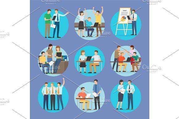Start Up People Set Poster Vector Illustration. Banner #start