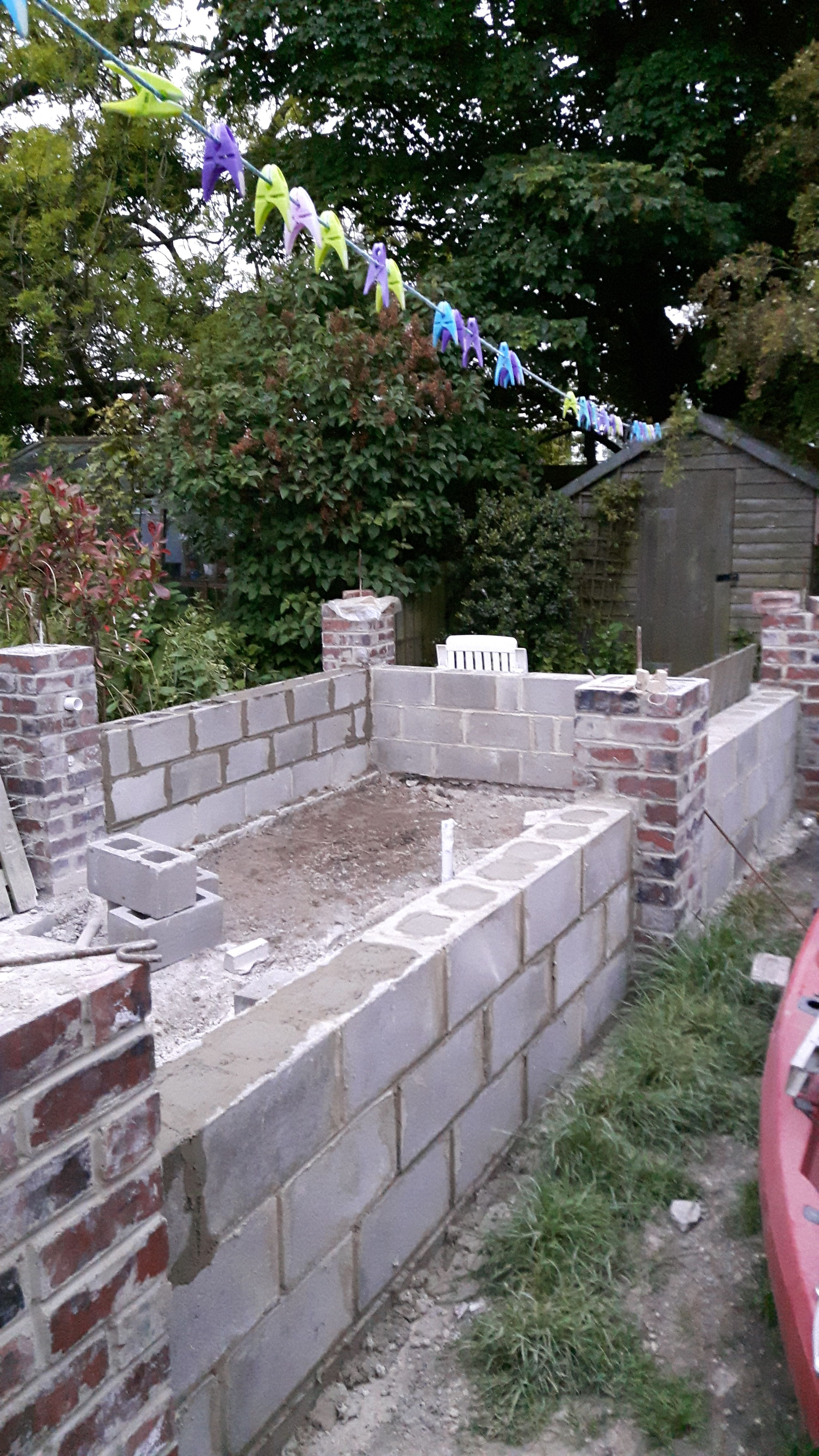 Hollow Block And Re Bar Construction Filled With Concrete Raised Pond Pergola Pond