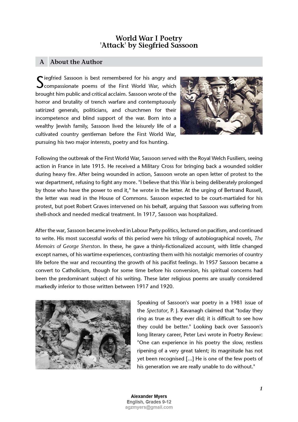 World War I Igcse Poetry By Siegfried Sassoon