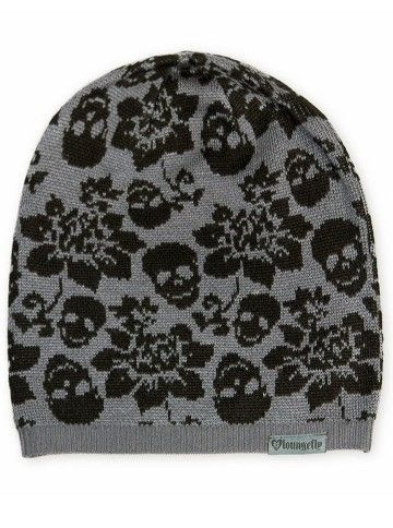 f1e08b69cf4 Skull With Flowers Beanie by Loungefly (Grey Black)  InkedShop  floral   flower  skull  beanie  hat  grey  gray