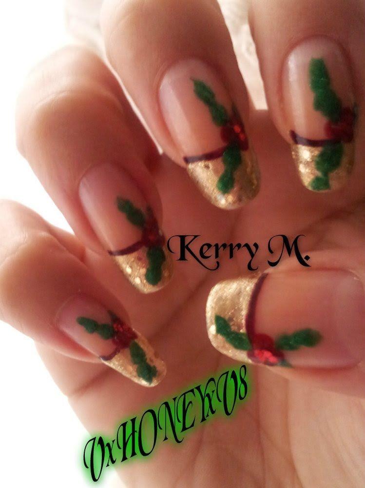 Holly Nail Art Christmas Nails Pinterest Christmas Nail Art