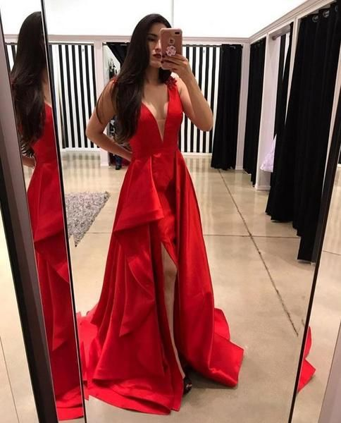 ea09a7f7f7 Red Tank Straps Slit V neckline Prom Dresses Evening Dresses in 2019 ...