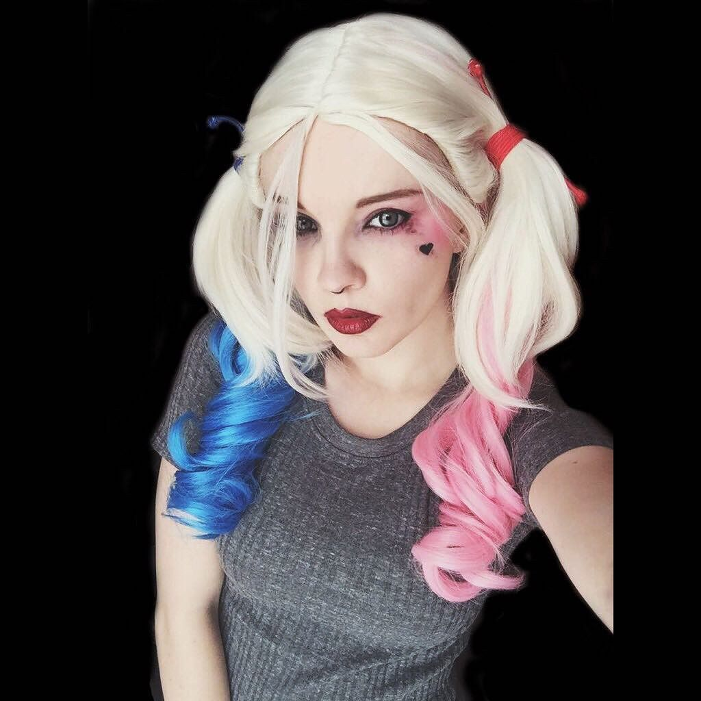 Suicide squad harley quinn cosplay wig cosplay the oujays and