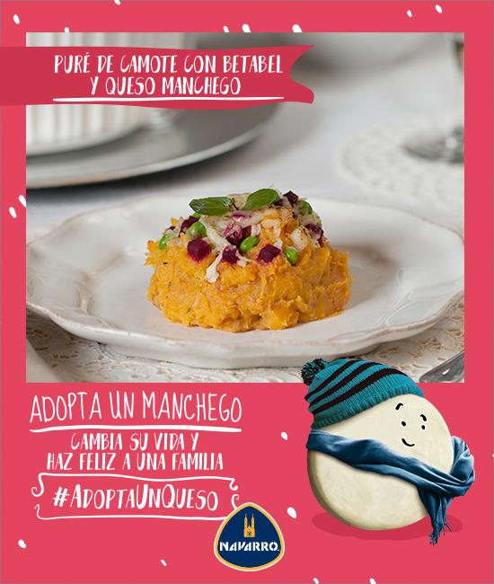 #AdoptaUnQueso para tus recetas navideñas. Te recomendamos este delicioso platillo: Puré de camote con betabel y Queso Manchego NAVARRO. Descúbrelo. http://bit.ly/1TiD5K2