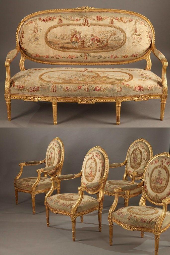 Salon Style Louis 16 #12: Salon Set In Gilt Wood - Louis XVI Style, Napoleon III Period | Cadeiras E  Sofás Antigos | Pinterest | Louis Xvi, Napoleon And Salons