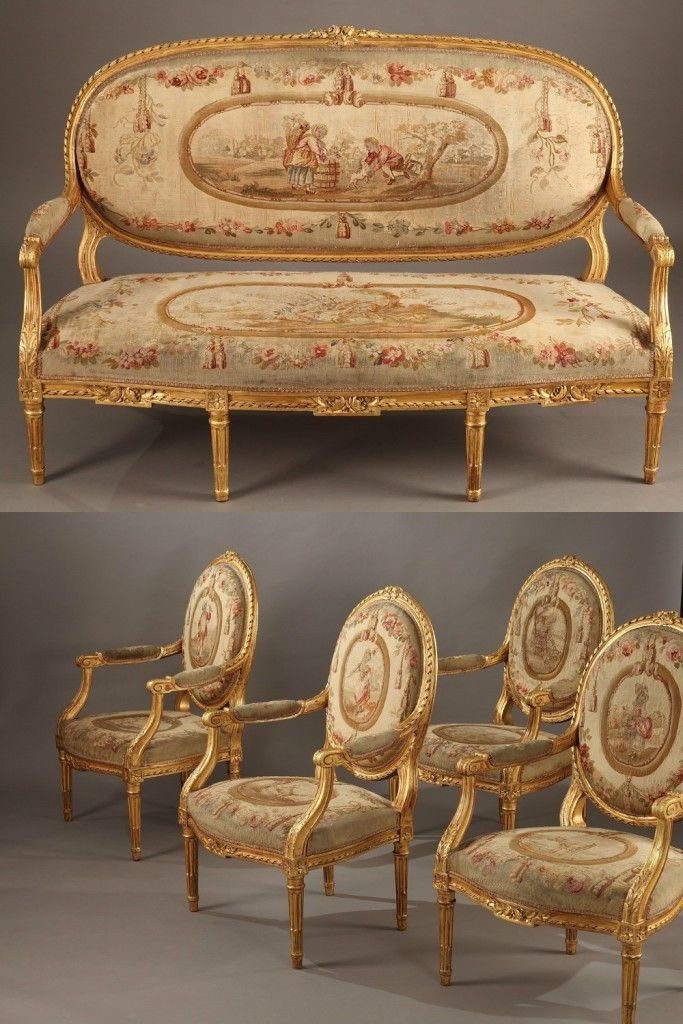 Salon Style Louis 16 salon set in gilt wood - louis xvi style, napoleon iii period