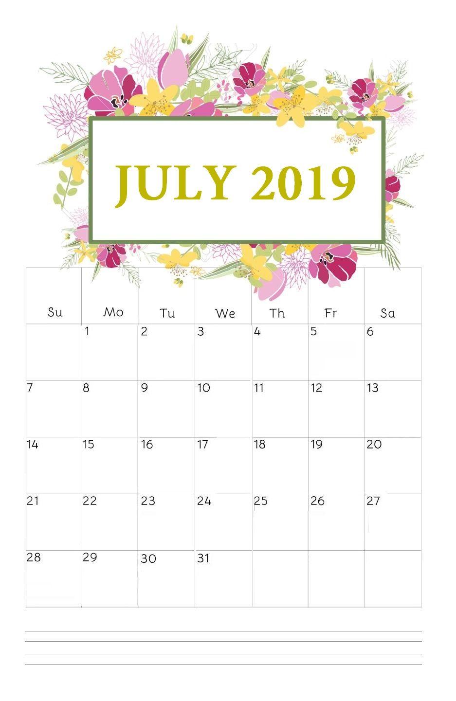 Floral July 2019 Calendar Hanging planner, 2019 calendar