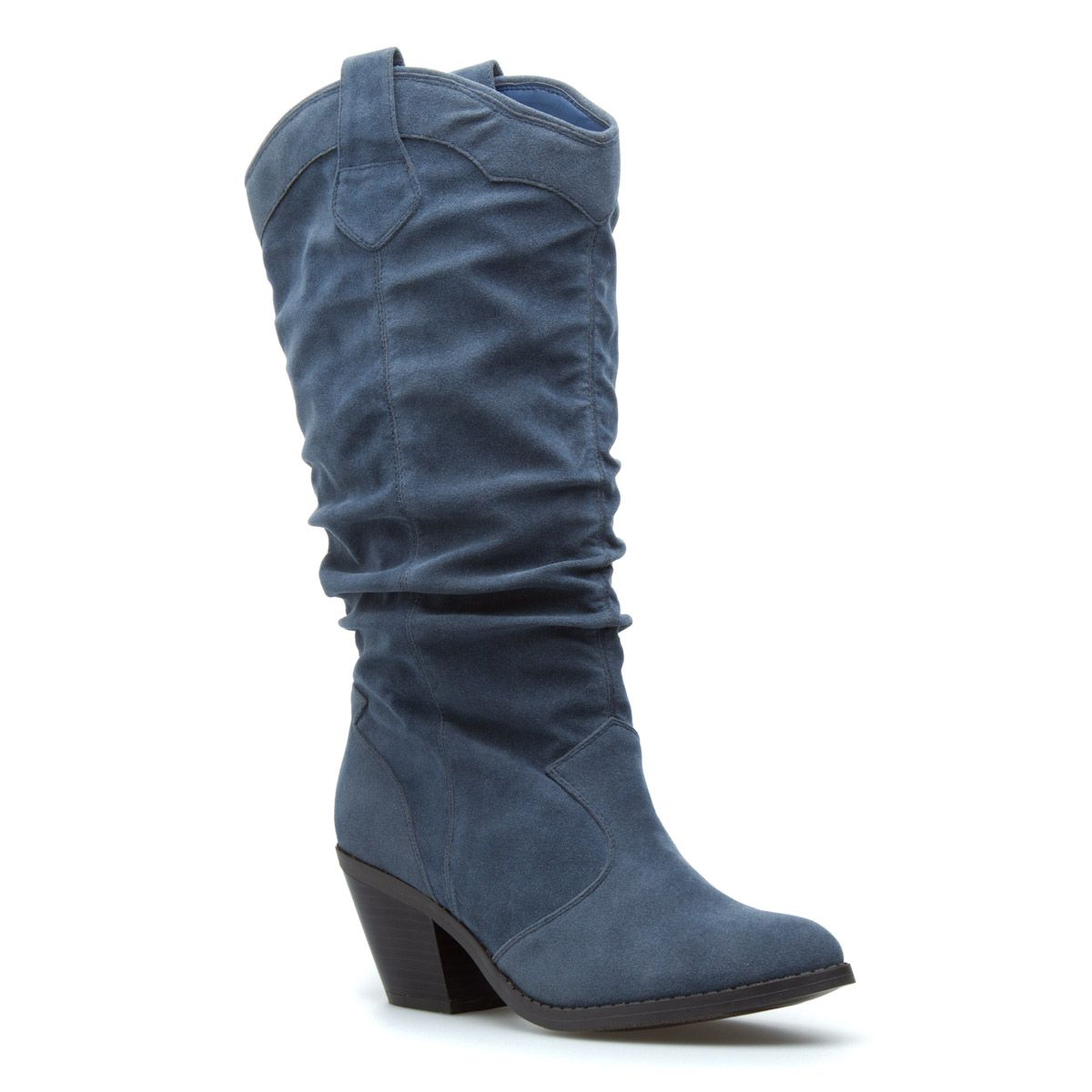 Blue Slouch Boots. | Boots, Blue suede