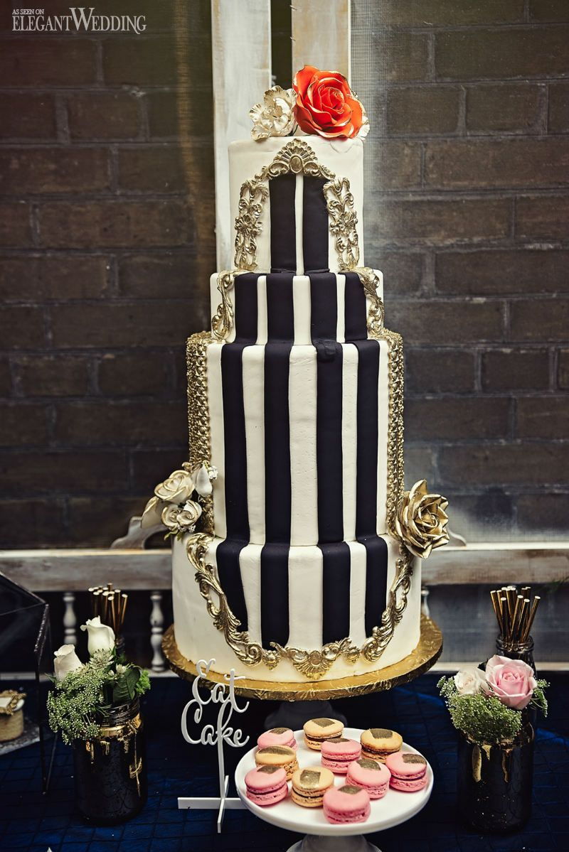 Black and gold wedding cake with stripes rustic south asian wedding