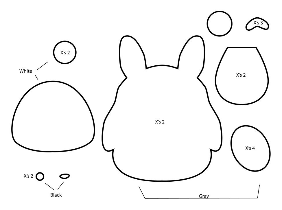 How to Make a Totoro Plushie from felt template tutorial | Diy ...