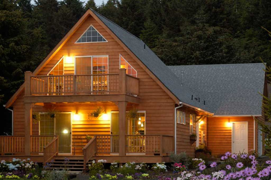 custom chalet style modular home with two decks view windows and cedar lap - Chalet Style Modular Home Plans