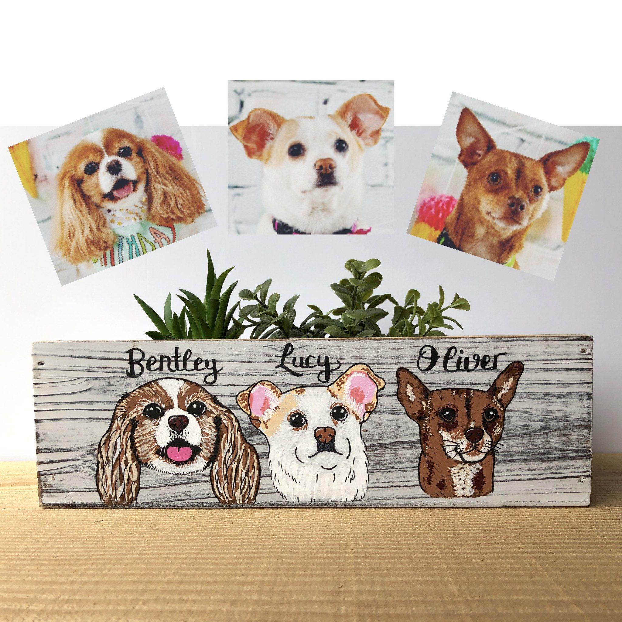Dog Portrait Planter Custom Dog Lover Gift