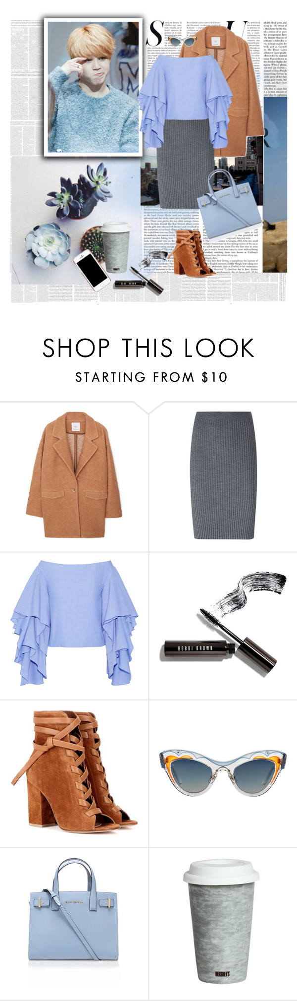 """offshoulder(Jimin <3 )"" by ani-onni ❤ liked on Polyvore featuring No Tomorrow, MANGO, Jacquemus, Rosie Assoulin, Bobbi Brown Cosmetics, Gianvito Rossi, Miu Miu, Kurt Geiger, Fitz and Floyd and Moschino"