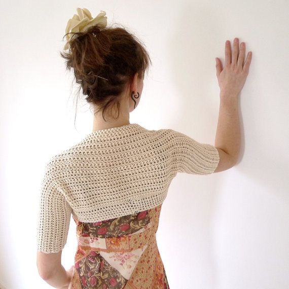 Ivory Crochet Bolero Shrug - Organic Cotton, Cream, Off White ...