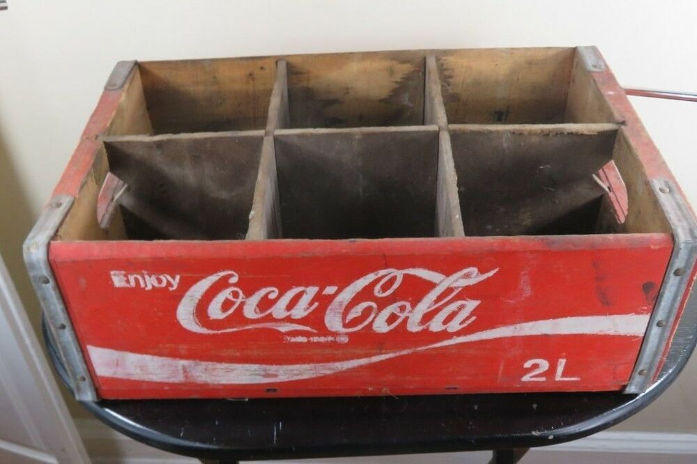 Rare Smaller Size Coke 2 Liter 6 Pack Vintage Wood Crate Cocacola