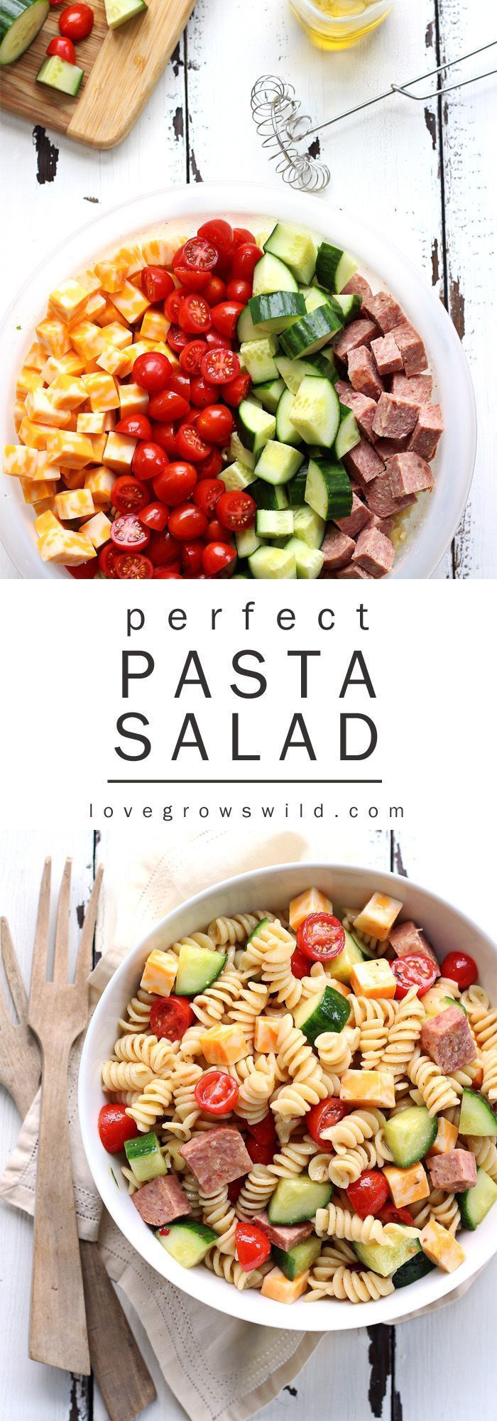 The perfect pasta salad recipe! Tender noodles tossed in a zesty Italian dressin The perfect pasta salad recipe! Tender noodles tossed in a zesty Italian dressin...