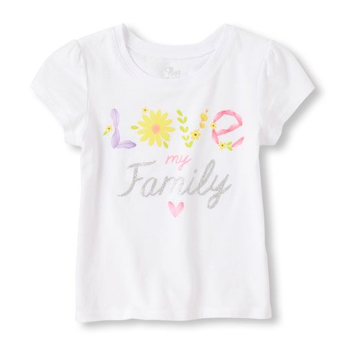 96c7212d Place Shops Toddler Short Sleeve 'Love My Family' Graphic Tee - White T- Shirt - The Children's Place