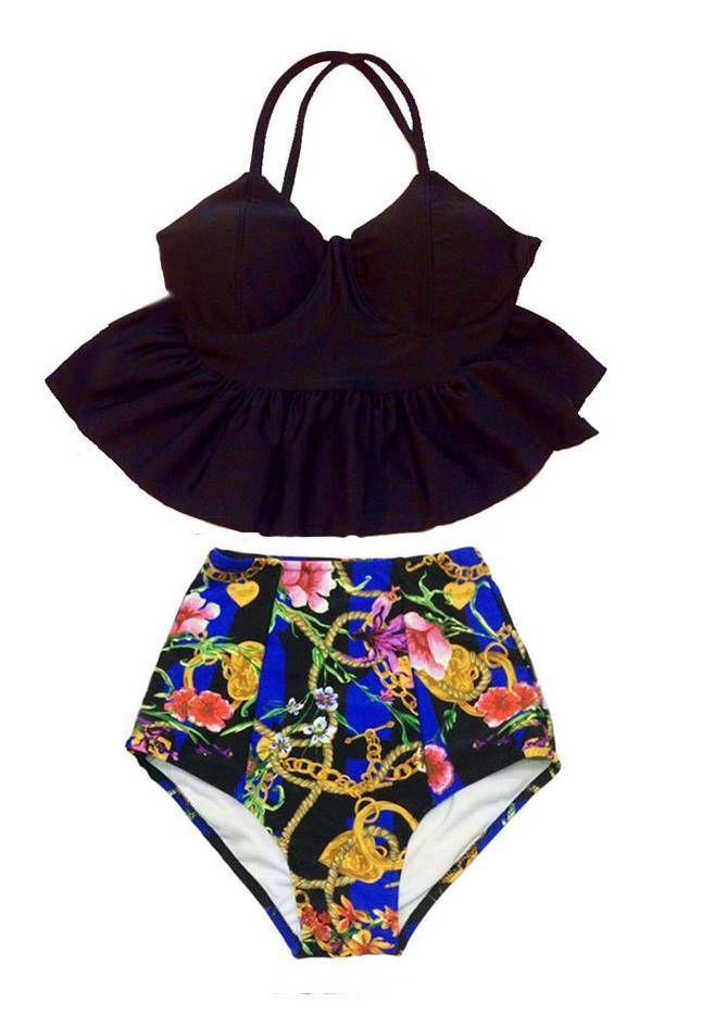 2a495c3f9d550 Black Long Peplum Tankini Top and Graphic High waisted waist Bottom Bikini  set sets Swimsuit Swimsuits Swimwear Swim wear Bathing suit S M L by  Venderstore ...
