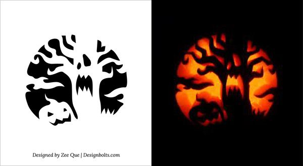 free printable scary tree halloween pumpkin carving stencils - Free Scary Halloween Pumpkin Carving Patterns